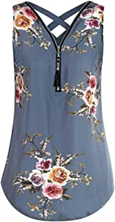 Limsea Women V Neck Sleeveless Printed A Line Curved Hem Tie Dye Blouse