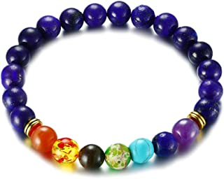 MP 8mm Blue Lapis Lazuli Stone Beads 7 Color Elements Carnelian Amber Tiger Eye Tuquoise Amethyst Elastic Rope Chain Yoga Bracelet for Men Women
