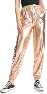 CHICTRY Mens Shiny Metallic Bell Bottom Flares Trousers 70s Vintage Long Pants