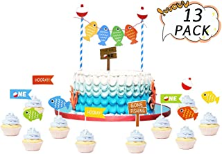 Big One Cake Toppers Birthday Banner Fish First Birthday Cake Topper Party Decorations Go Fishing Cake Topper Kits for Kids Birthday Fishing Theme Party Supplies