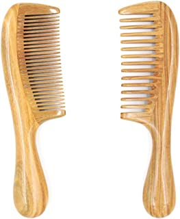 Tinfun Natural Green Sandalwood Wooden Comb Set, Wide tooth & Fine tooth – Handmade, Prevent Tangle, No Static