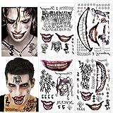 HOWAF 82 piezas SuicidePelícula Tatuaje Joker Tattoos Halloween tatuajes temporales hombres Mujeres Carnaval Halloween Cosplay, Idea de Regalo