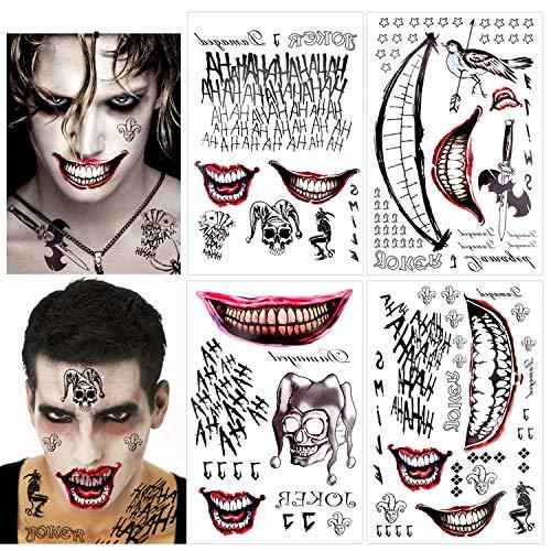 HOWAF 8 Grandes Feuilles Halloween Tatouages Temporaires, Squad Suicide Tattoo temporaire Joker Harley Arc de Tatouage Quinn Autocollant Carnaval Halloween Cosplay