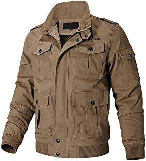 Men's Cotton Cargo Jacket Lightweight Casual Outdoor Windproof Military Jackets with Pocket