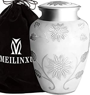 Cremation Urns for Human Ashes Adult for Women or Man - Brass Hand Engraved Silvery Sunflower / Rose - Display Burial at Home or in Niche at Columbarium (White, Funeral Urns for Adult Ashes Large