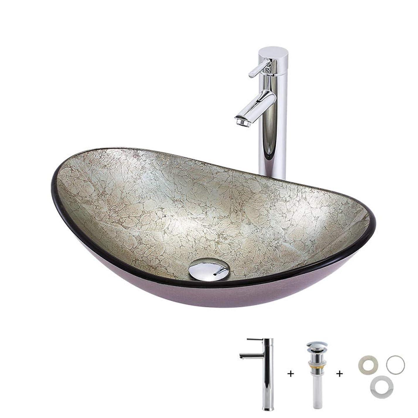 認可申し込む平和な洗面ボールガラス強化グレー水栓、ウォーターフォール取り付けリングキットおよびドレン洗面器-楕円形