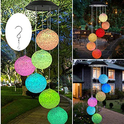 LED Solar Wind Chime Light Spiral Spinner Color Changing Garden Lamp Waterproof Outdoor Decorative Romantic for Patio Yard Garden with A Hook (Ball)