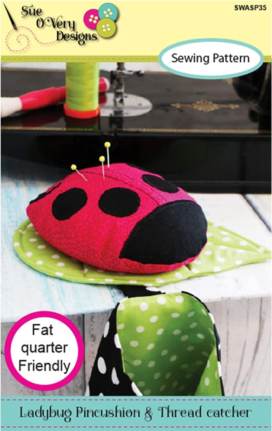 Sue O'Very Designs -Sealed With A Stitch SWASP35 Ladybug Pincushion and Thread Catcher Pattern vwbnzhpptdm238