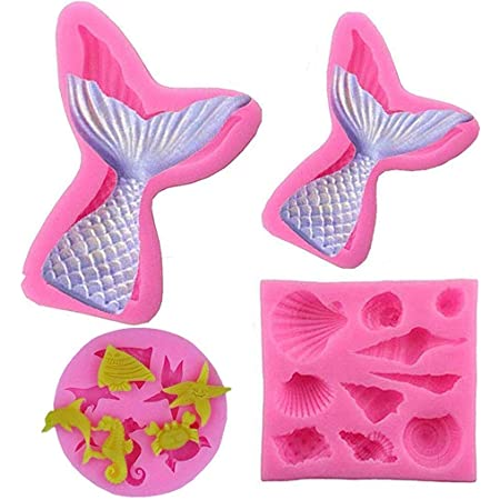 HASTHIP® 4Pack Seashell Mold & Mermaid Tail Mold Silicone Fondant Mold Chocolate Mold for Decorating Cakes, Chocolate, Candy, Baking,etc.