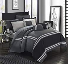 Chic Home Zarah 10 Piece Bedding with Sheet Set And Decorative Pillows Shams, KING, GREY