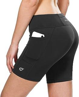 BALEAF Women's 7 Inches Running Yoga Spandex Shorts Long Compression Shorts Workout Back Pockets
