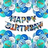 Decoraciones de Cumpleaños de Animales Marinos,LYQQY 33PCS Globos Peces con Delfines, Tiburones, Ballenas Pescados Globos Fiesta de Cumpleaños del Tema Mar para Fiesta de Cumpleaños, Acuario
