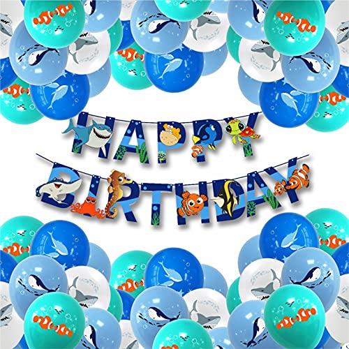 Decoraciones de Cumpleaños de Animales Marinos,LYQQY 33PCS Globos Peces con Delfines, Tiburones,...