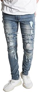 KDNK Men's Skinny Fit Stretch Denim Distressed Faded Ripped Moto Biker Jeans