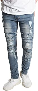 Men's Skinny Fit Stretch Denim Distressed Faded Ripped Moto Biker Jeans