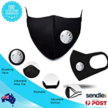 Pure Cotton mask, Washable and Breathable reuseable mask with air Valve,Black