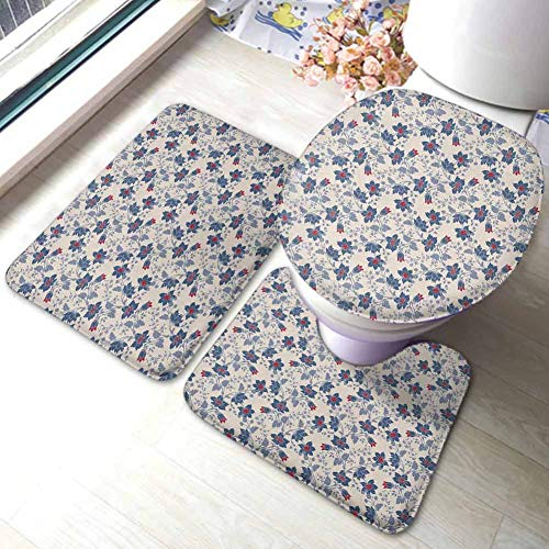 Floral 3 Piece Rug Set Classic Flowers with Vivid Blooms and Victorian Vintage Effects Pattern,Large Contour Mat with Lid Cover Cream Night Blue Ruby