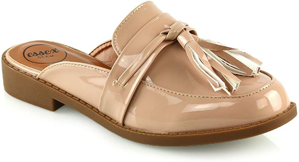 ESSEX GLAM Womens Slip On Shoes Ladies Backless Tassel Casual Loafer Shoes