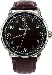 Mercedes Benz - Reloj deportivo y redondo de cuarzo, con pulsera marrón y esfera negra, batería de repuesto gratuita y bolsa de regalo gratuita