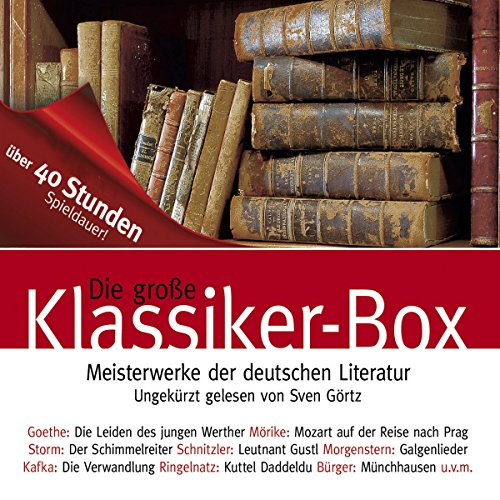 Die große Klassiker-Box                   By:                                                                                                                                 Franz Kafka,                                                                                        Arthur Schnitzler,                                                                                        Theodor Storm                               Narrated by:                                                                                                                                 Sven Görtz                      Length: 40 hrs and 38 mins     Not rated yet     Overall 0.0