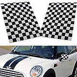 YONGYAO 2Pcs Checkered Patrón Vinilo Lado Espejo Pegatinas para Mini Cooper