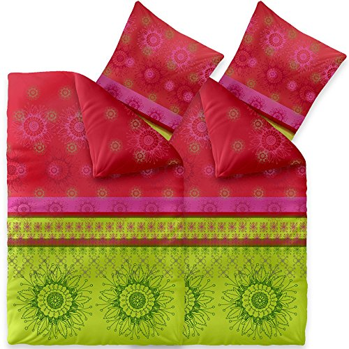 CelinaTex Fashion Bettwäsche 135x200 cm 4teilig Baumwolle Lindsay Blumen Grün Rot