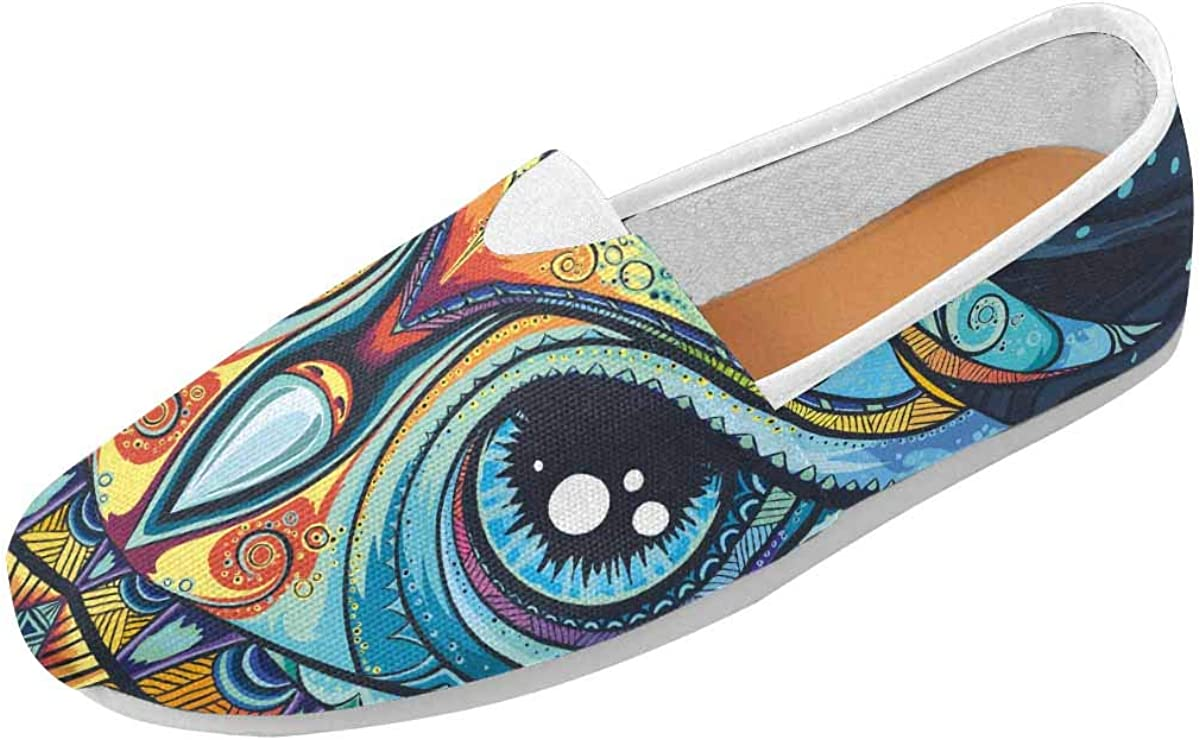 INTERESTPRINT Owl with Tribal Ornament Women's Casual Slip On Loafers Office