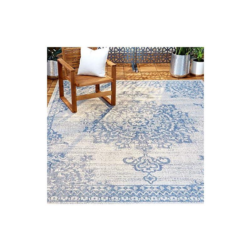 "silk flower arrangements home dynamix nicole miller patio country azalea indoor/outdoor area rug 5'2""x7'2"", traditional medallion gray/blue"