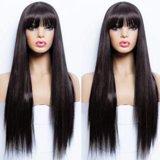 ANDRIA Straight Wigs With Bangs Long Wigs Silk Straight Wig Synthetic Natural Black Wig Heat Resistant Fiber Hair Daily an...