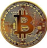 Bitcoin Moneda Física Chapada En Oro De 24k, Incluye Protector Acrilico Redondo