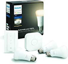 Philips Hue Starterkit - 3 Lampen - E27 - Duurzame LED Verlichting - Warmwit Licht - Incl. Hue Bridge en dimmer switch - D...