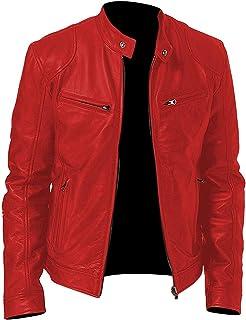 053d359f39e Spazeup Cafe Racer Jacket Vintage Motorcycle Retro Moto Distressed Leather  Jacket