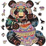 GOLDGE Puzzle de Madera Puzzle de Panda, Puzzle de Madera Adultos y Niños 3D Paisajes Animales, A4 26 * 29.4cm (Panda)