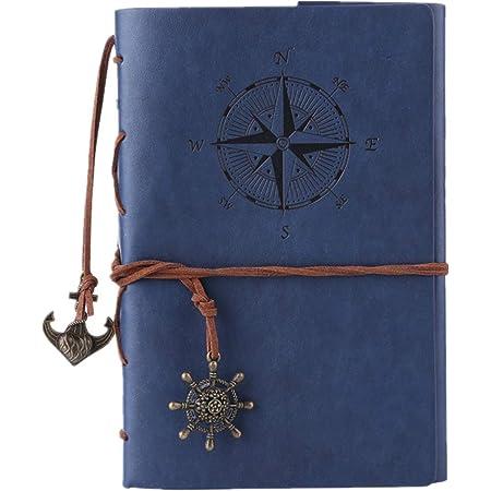 Quaderno in pelle - retro diario di viaggio con rilegatura a spirale ricaricabile, vuoto, taccuino vintage, Sea Blue