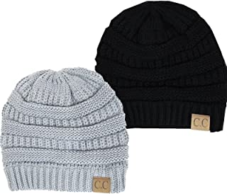 Thick Slouchy Knit Oversized Beanie Cap Hat, Black/Light Grey 2 pack