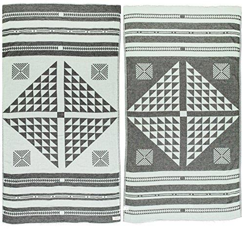 Bersuse 100% Cotton Oeko-TEX Certified Aruba Handloom Turkish Towel Pestemal Handtuch, Schwarz/Minze, 39x70 Inches