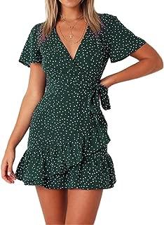 Women's Summer Wrap V Neck Polka Dot Print Ruffle Short Sleeve Mini Floral Dress with Belt