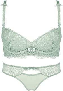 Care Lace Embroidered Pattern Comfortably Gathered Sexy Bra Set, Sponge, no Steel Ring, Adjustable Chest Underwear, Four R...