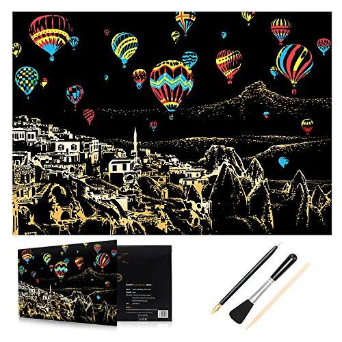 H HOMEWINS Kratzbilder 405 x 285 MM Weltberühmte Sehenswürdigkeiten Wandbild DIY Kunst Zeichnung City Night View Schwarz Beschichtet Bunte Kratzpapier mit Werkzeug Set (Heißluftballon)