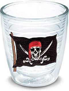 Tervis 1035620 Pirate Flag With Swords Tumbler with Emblem 12oz, Clear