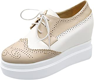 Latasa Womens Fashion Two-Toned Lace-Up Platform Inside Wedge High Heel Oxford Shoes