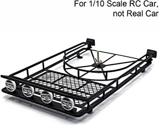 Black Metal Roof Rack with 4LED Lights for 1:10 RC Rock Crawler SCX10 II 90046 90047 Cherokee SCX10 D90 Jeep Wrangler