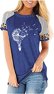 Women Summer Short Sleeve Tops, Ladies O-neck Floral Printed T-shirt Blouse Tunic Top