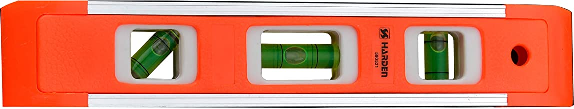 "Harden 9"" Professional Aluminum ABS Torpedo Level With Magnet with 3 High Visible Vials - 580521"