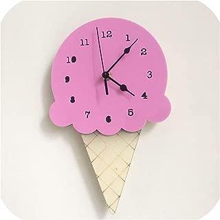 Wenzi-day Nordic Ice Cream Wall Clocks Cartoon Mute Watch Wall Home Decor Kids Room Wall Decoration,Purple,28X16CM