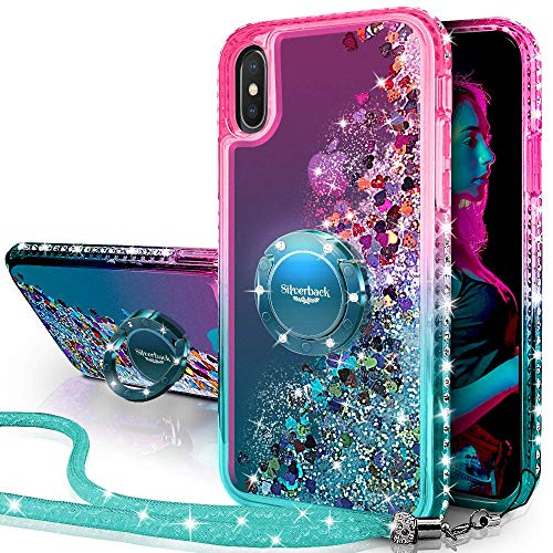Miss Arts Cover iPhone XS Max,[Silverback] Custodia Glitter di in TPU con Supporto, Pendenza Colore Diamond Liquido Cover Case per Apple iPhone XS Max -Verde