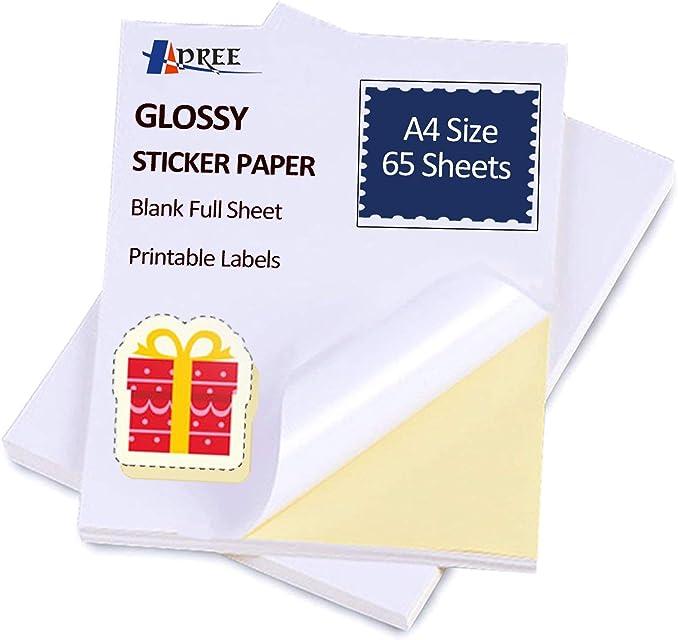 65 hojas Glossy Sticker Paper A4 autoadhesivo Sticker etiqueta de papel para impresoras láser y de inyección por Hapree (65 hojas)
