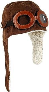 Cappello invernale da aviatore, con caldi paraorecchie e occhialini, da bambino Marrone