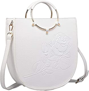 Trendy Ladies' Ring Tote Print Embossed Flower Bag Dinner Shoulder Bag Zgywmz (Color : White, Size : 31 * 10 * 32cm)