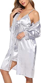 Abollria Sexy Donna Vestaglia 2 Pezzi in Seta con Pizzo, Pigiama Vestaglia in Raso Camicia da Notte con Cintura